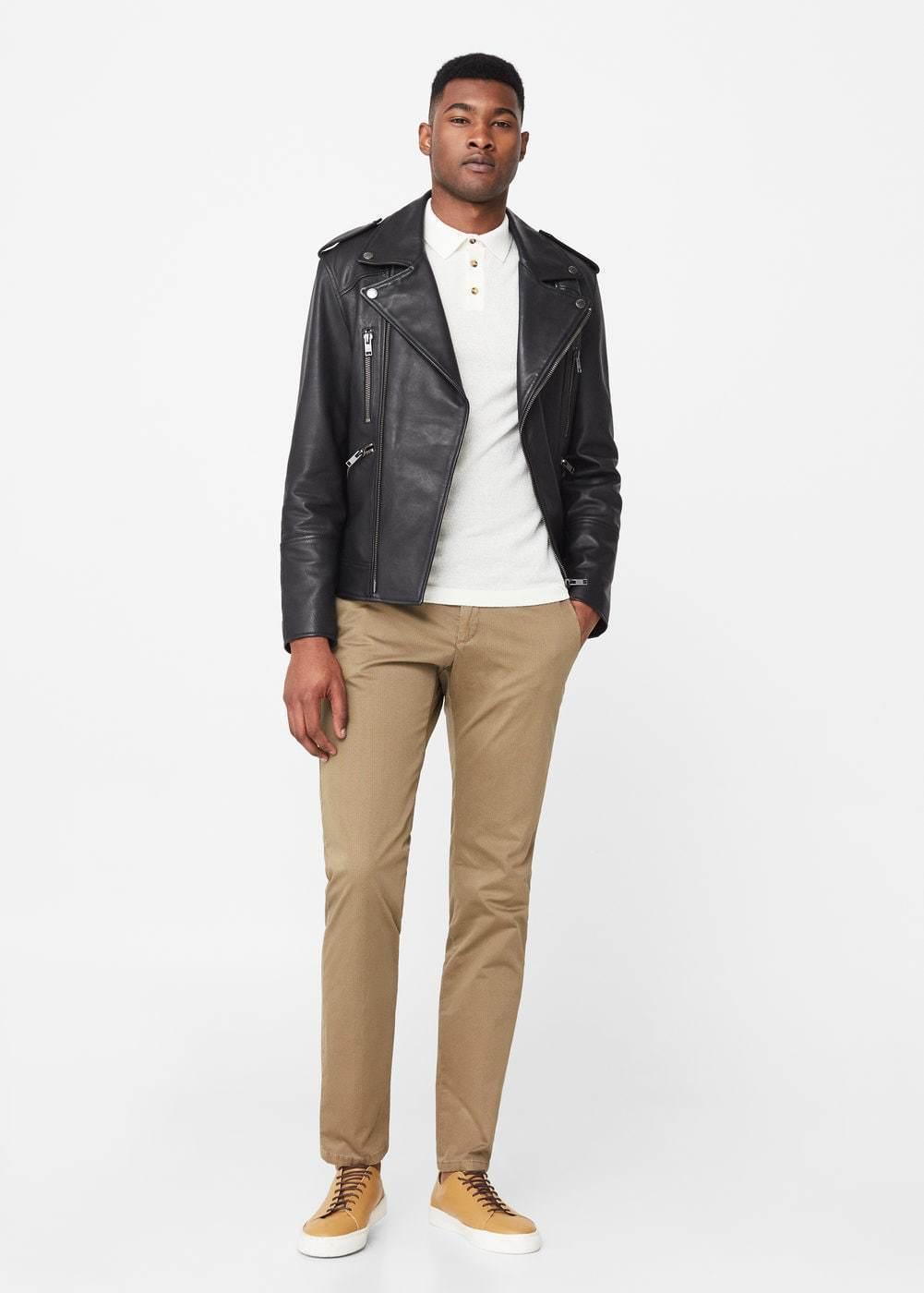 Como combinar una chaqueta de cuero marron hombre for Combinar marron