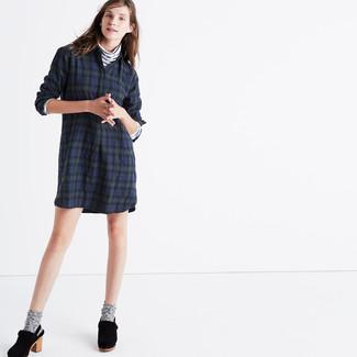 7e2a730b10bd Cómo combinar una vestido camisa azul marino estilo elegante (3 ...