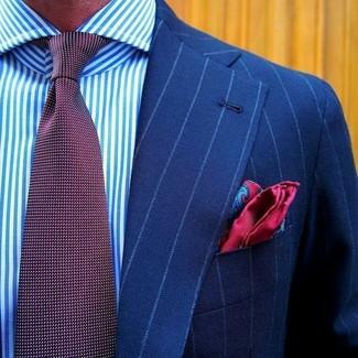 Cómo combinar: pañuelo de bolsillo de seda de paisley rojo, corbata a lunares burdeos, camisa de vestir de rayas verticales en blanco y azul, blazer de rayas verticales azul