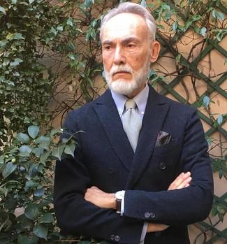 Cómo combinar: pañuelo de bolsillo de paisley burdeos, corbata gris, camisa de vestir celeste, blazer cruzado negro