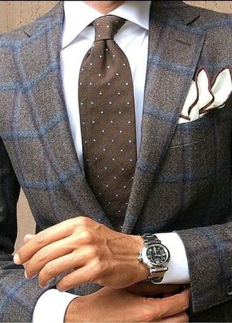 Cómo combinar: pañuelo de bolsillo blanco, corbata a lunares en marrón oscuro, camisa de vestir blanca, blazer de lana a cuadros en marrón oscuro