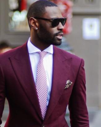 Cómo combinar: pañuelo de bolsillo a lunares verde oliva, corbata de pata de gallo rosada, camisa de vestir blanca, blazer burdeos