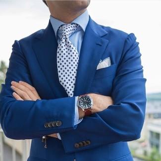 Cómo combinar: pañuelo de bolsillo blanco, corbata con print de flores en blanco y azul, camisa de vestir de rayas verticales azul, blazer azul
