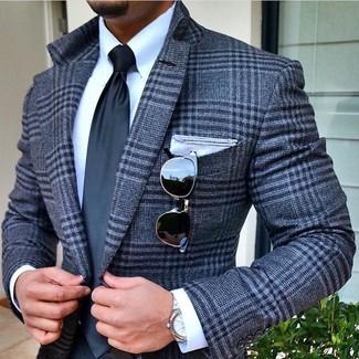 Cómo combinar: pañuelo de bolsillo blanco, corbata en gris oscuro, camisa de vestir blanca, blazer de lana de tartán gris