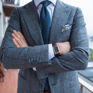 Cómo combinar: pañuelo de bolsillo estampado en blanco y azul marino, corbata estampada en verde azulado, camisa de vestir blanca, blazer de lana a cuadros gris