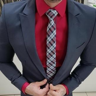 Cómo combinar: corbata de tartán burdeos, camisa de vestir roja, traje negro