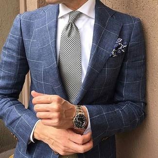 Cómo combinar: pañuelo de bolsillo con print de flores azul marino, corbata de pata de gallo en blanco y negro, camisa de vestir blanca, blazer a cuadros azul marino