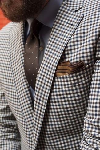 Combinar una corbata a lunares marrón: Considera ponerse un blazer de cuadro vichy marrón y una corbata a lunares marrón para rebosar clase y sofisticación.