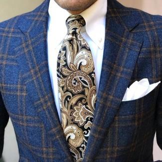 Cómo combinar: pañuelo de bolsillo blanco, corbata de paisley negra, camisa de vestir blanca, blazer de lana de tartán azul marino