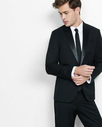 Look De Moda Corbata Negra Camisa De Vestir Blanca Traje