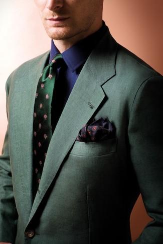 Cómo combinar: pañuelo de bolsillo estampado negro, corbata de seda con print de flores verde oscuro, camisa de vestir azul marino, blazer verde oscuro