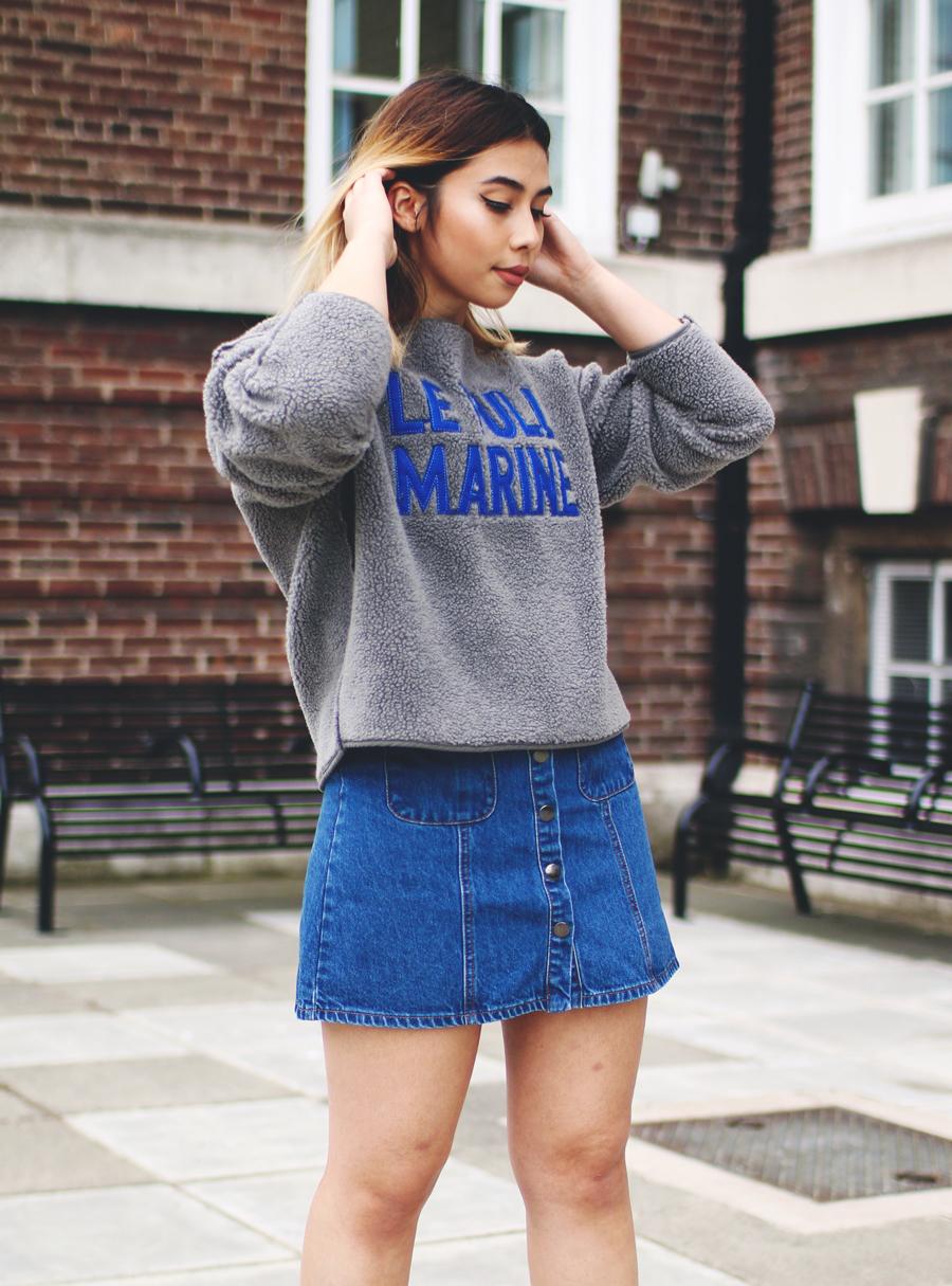 clientes primero precio de descuento grandes ofertas 2017 Look de moda: Falda con botones vaquera azul, Jersey con ...