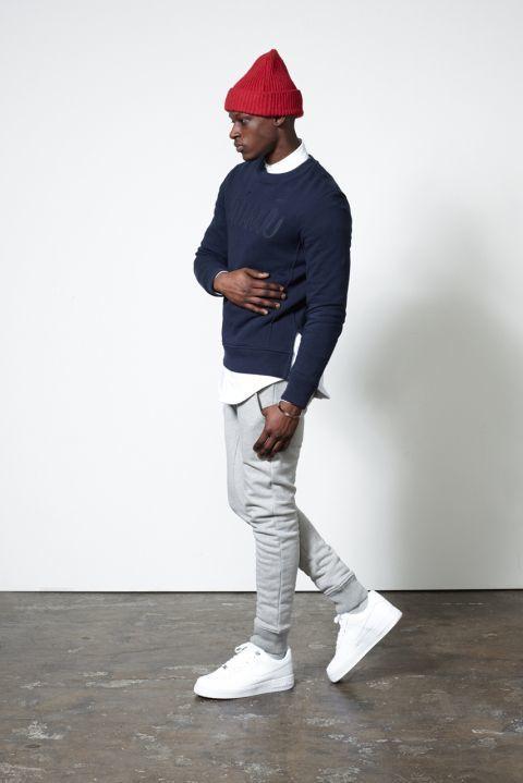 Look de moda Jersey con Cuello Barco Estampado Azul Marino, Camisa de Manga Larga Gorro Rojo