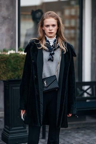 Abrigo de piel negro de Christian Dior Vintage