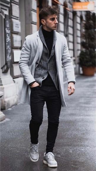 Cárdigan con cuello chal en gris oscuro de Saint Laurent