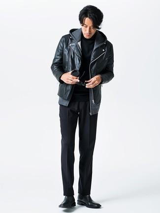Jersey de cuello alto negro de Raf Simons