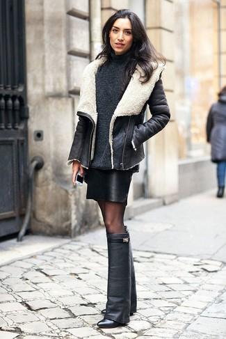 dc7d2002c7 Look de moda  Botas de caña alta de cuero negras