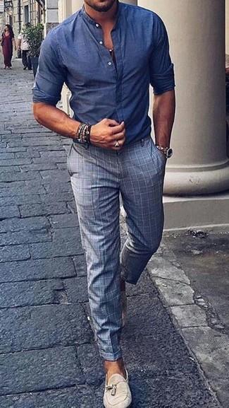 Un Pantalon De Vestir De Vestir Con Una Camisa De Manga Larga Azul Marino Para Hombres De 30 Anos 75 Looks Outfits Hombre Lookastic Mexico