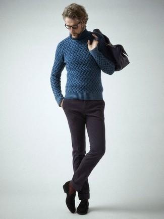 Jersey de cuello alto de punto azul de YMC