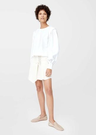 Blusa de manga larga blanca de Rosetta Getty