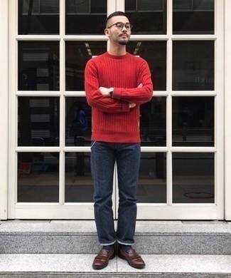 Jersey con cuello circular rojo de Zanone