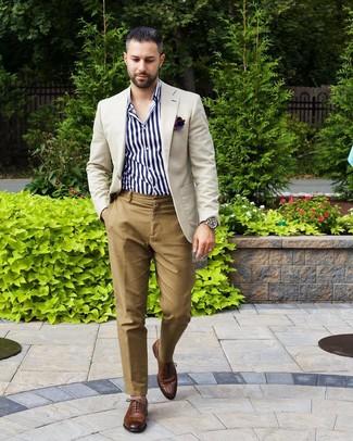 Cómo combinar un pantalón chino marrón claro (813 looks de
