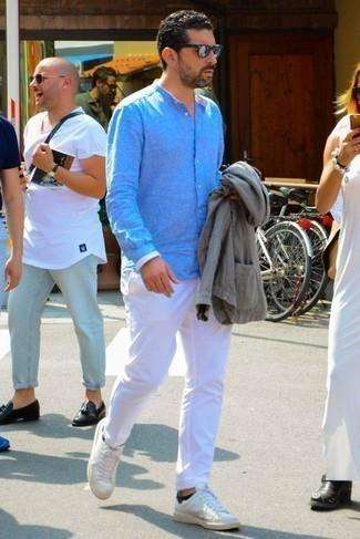 Camisa de manga larga de lino celeste de Jack O'Neill
