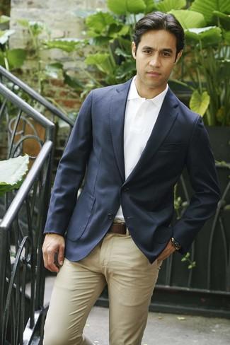 Combinar Un Blazer Azul Marino Con Un Pantalón Chino Marrón Claro 90 Looks Outfits Hombre Lookastic México