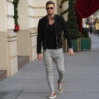 Cómo Claro Pantalón Leopardo Sin Mangas Camiseta Tenis Marrón De Chino Gris Combinar gOrwg