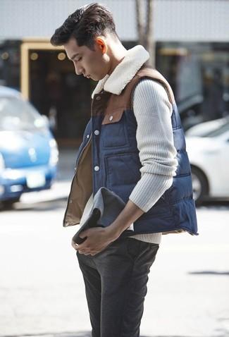 Pantalón chino de lana en gris oscuro de Incotex