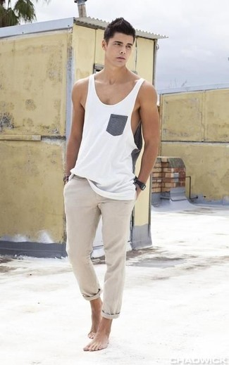 Camiseta sin mangas blanca de Dolce & Gabbana Underwear