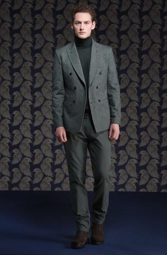 Combinar un blazer cruzado: Si buscas un estilo adecuado y a la moda, empareja un blazer cruzado junto a un pantalón chino gris. Este atuendo se complementa perfectamente con botines chelsea de ante en marrón oscuro.