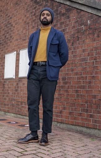 Outfits hombres: Considera ponerse una chaqueta estilo camisa de lana azul y un pantalón chino negro para crear un estilo informal elegante.