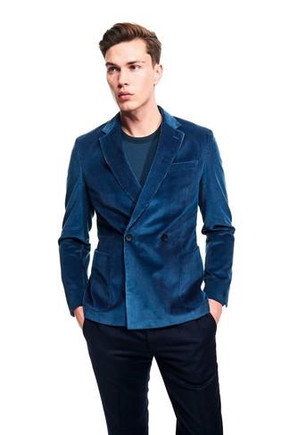 Cómo combinar: pantalón de vestir azul marino, camiseta de manga larga en verde azulado, blazer cruzado de pana en verde azulado