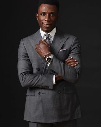 Cómo combinar: corbata a lunares gris, pantalón de vestir gris, camisa de vestir blanca, blazer cruzado gris