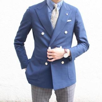 Cómo combinar: corbata de paisley verde oliva, pantalón de vestir de tartán gris, camisa de vestir celeste, blazer cruzado azul marino