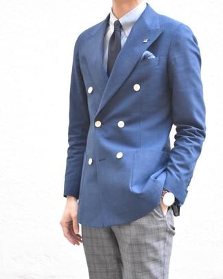 Combinar un blazer cruzado azul: Intenta combinar un blazer cruzado azul junto a un pantalón de vestir de tartán gris para una apariencia clásica y elegante.
