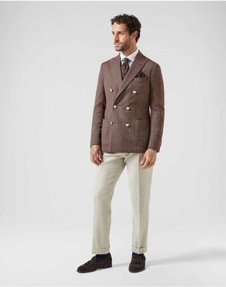 Combinar una corbata estampada burdeos: Ponte un blazer cruzado marrón y una corbata estampada burdeos para rebosar clase y sofisticación. Si no quieres vestir totalmente formal, completa tu atuendo con mocasín con borlas de ante en marrón oscuro.