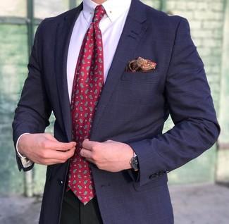 Cómo combinar: corbata de paisley roja, pantalón de vestir negro, camisa de vestir blanca, blazer de tartán azul marino