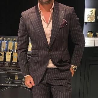 Cómo combinar: pañuelo de bolsillo de seda en marrón oscuro, pantalón de vestir de rayas verticales en marrón oscuro, camisa de vestir rosada, blazer de rayas verticales en marrón oscuro
