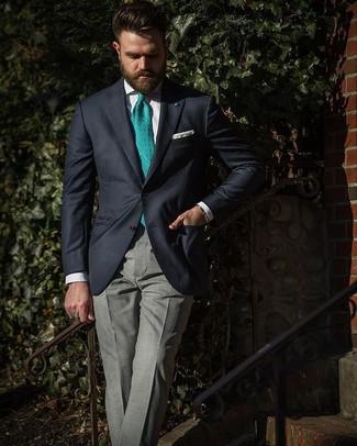 Cómo combinar: corbata estampada verde, pantalón de vestir de tartán gris, camisa de vestir blanca, blazer azul marino