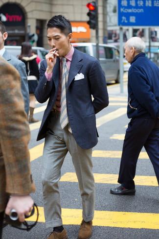 Corbata de rayas horizontales gris de Giorgio Armani