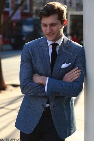 f7b600d6 Look de moda: Corbata de punto negra, Pantalón de vestir negro, Camisa de  vestir blanca, Blazer azul | Moda para Hombres | Lookastic México