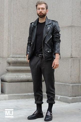 Chaqueta motera de cuero negra de Saint Laurent