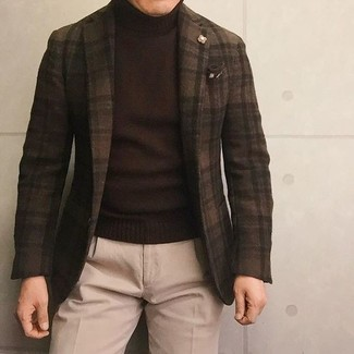 Pañuelo de bolsillo estampado en marrón oscuro de Brunello Cucinelli