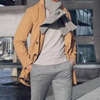 Abrigo largo marrón claro de Herno