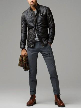 Pantalón de vestir de lana en gris oscuro de Dondup