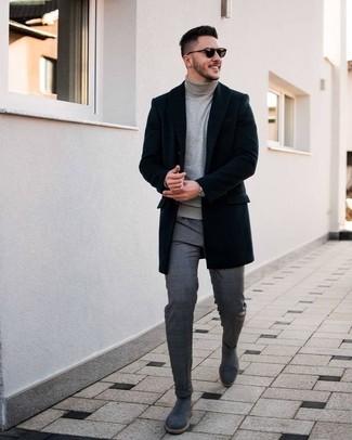Combinar un reloj plateado: Emparejar un abrigo largo negro junto a un reloj plateado es una opción inigualable para el fin de semana. ¿Te sientes ingenioso? Dale el toque final a tu atuendo con botines chelsea de ante grises.