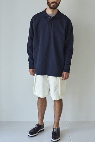 Polo de manga larga azul marino de Zanone