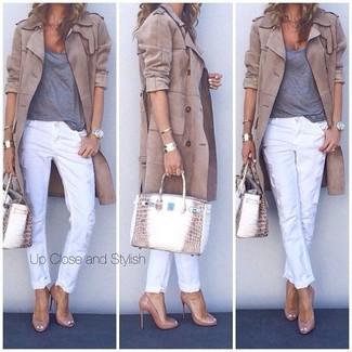 Claro De Camiseta Tacón Pantalones Marrón Pitillo Zapatos Cuero Cómo Blancos Combinar RxPFwY